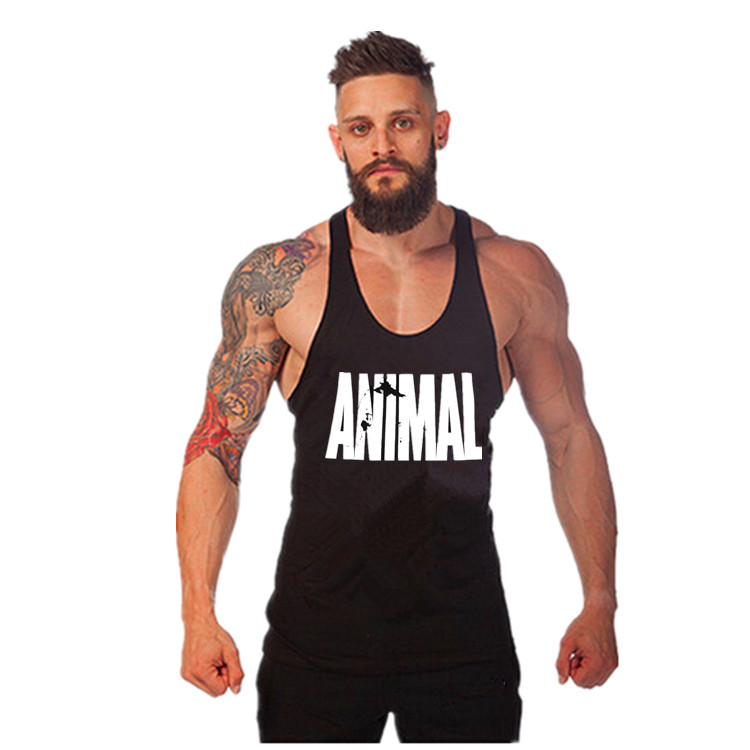 Fitness Animal Printed Tanktops Mens gyms Stringer   Tank     Tops   Bodybuilding Vest Mens Singlet Sleeveless shirt clothing