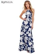 ROPALIA 2018 Для женщин макси бохо платье Холтер шеи Цветочный принт летние платья без рукавов праздничное длинное пляжное Платье для вечеринки T7