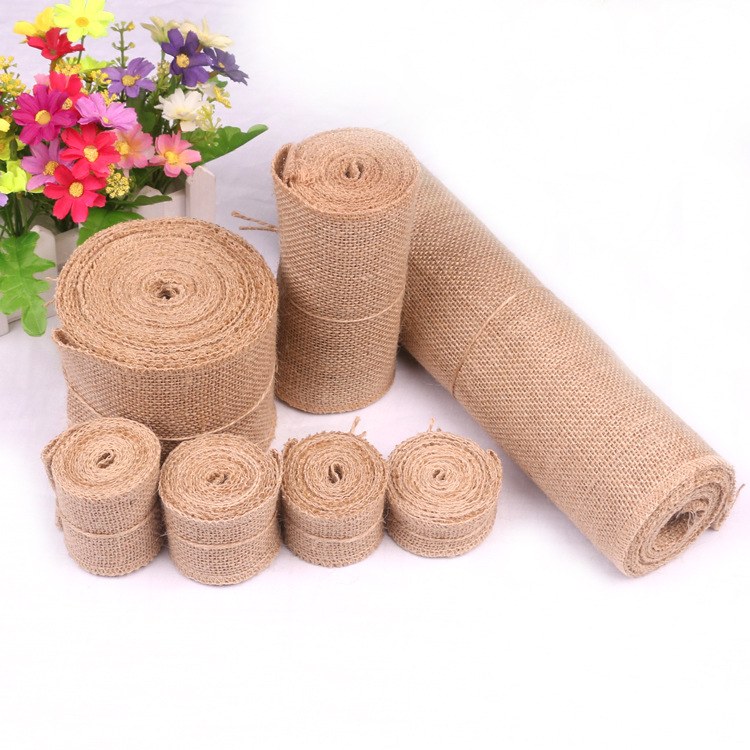 Natural Jute Burlap Hessian Rolls for Vintage Rustic Wedding Decoration Baby Shower Birthday Christmas Halloween Gift Wrapping(China)