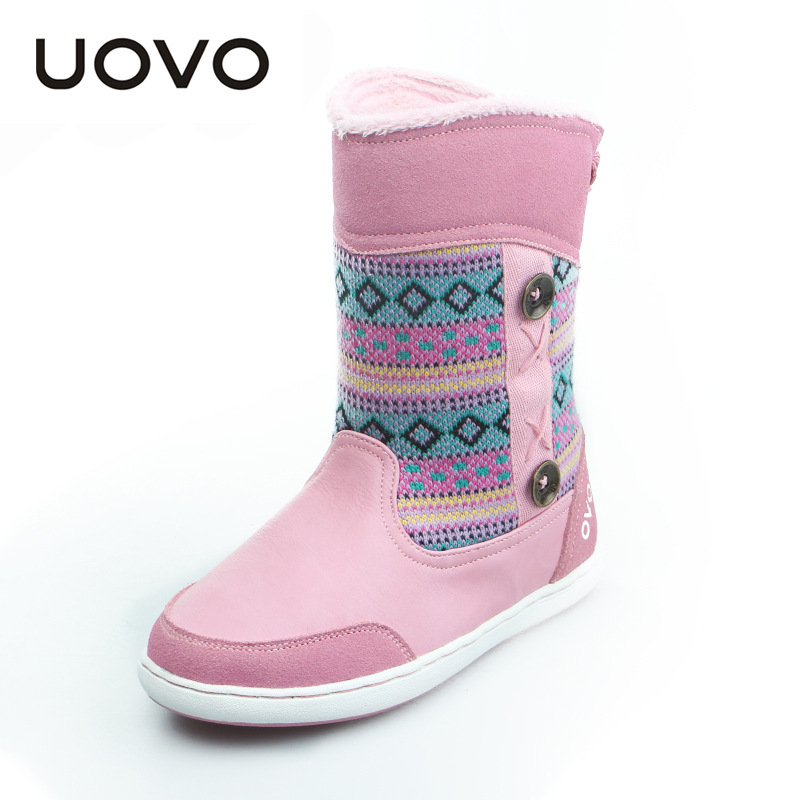 UOVO 2017 New Girls Snow Boots Genuine Leather Fashion Christmas Reindeer Boots Plush Warm Fur Children Casual Winter Shoes погодная станция rst 02413