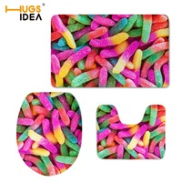 HUGSIDEA 3D Candy Color Printed Toilet WC Warm Lid Pad 3PCS Set Bathroom Floor Carpet Non