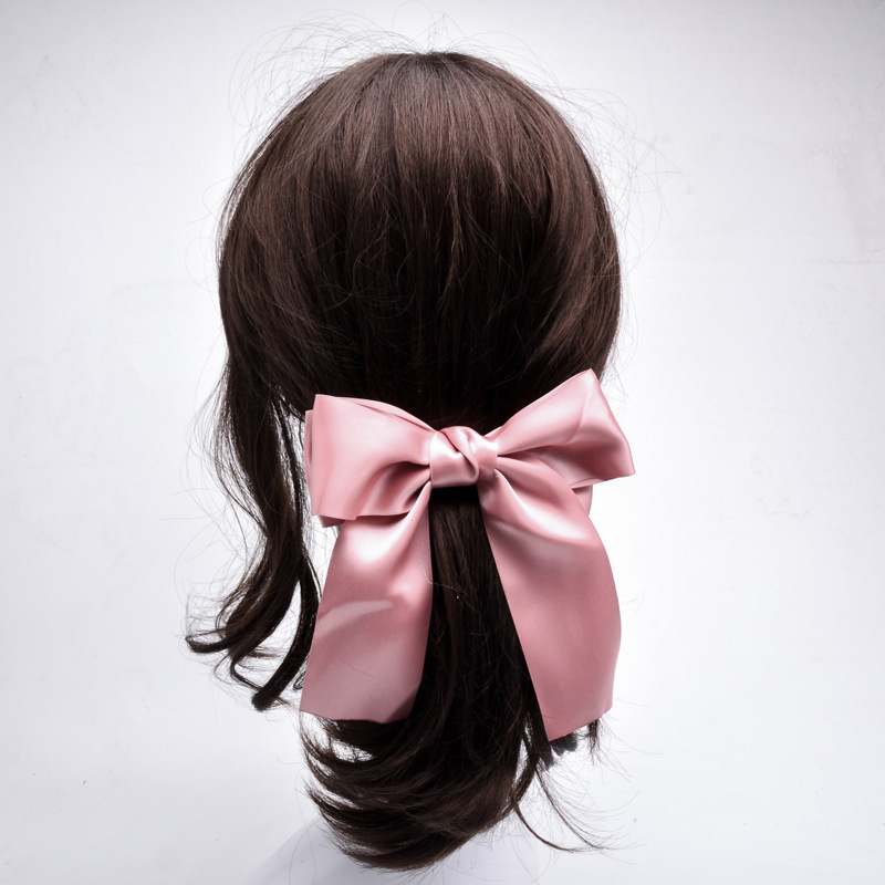 Women Ribbon Bow Hair Clip Summer Sweet   Headwear   Bowknot Hairpins Girls Barrettes Hairclips Solid Pink Smooth Hair Accessories