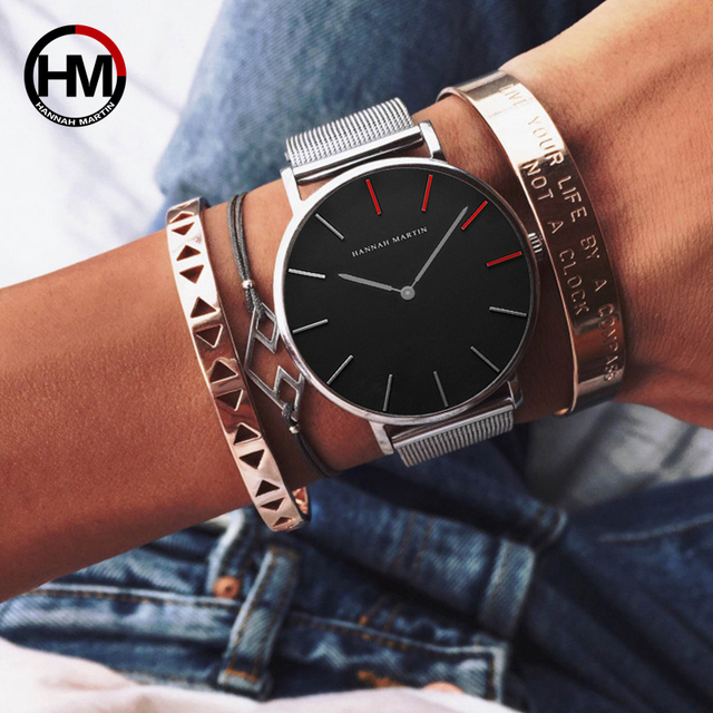 36mm Designer 2018 Luxury 4 Red Pointers Japan Quartz Movement Waterproof Women Rose Gold Stainless Steel Mesh Band Ladies Watch