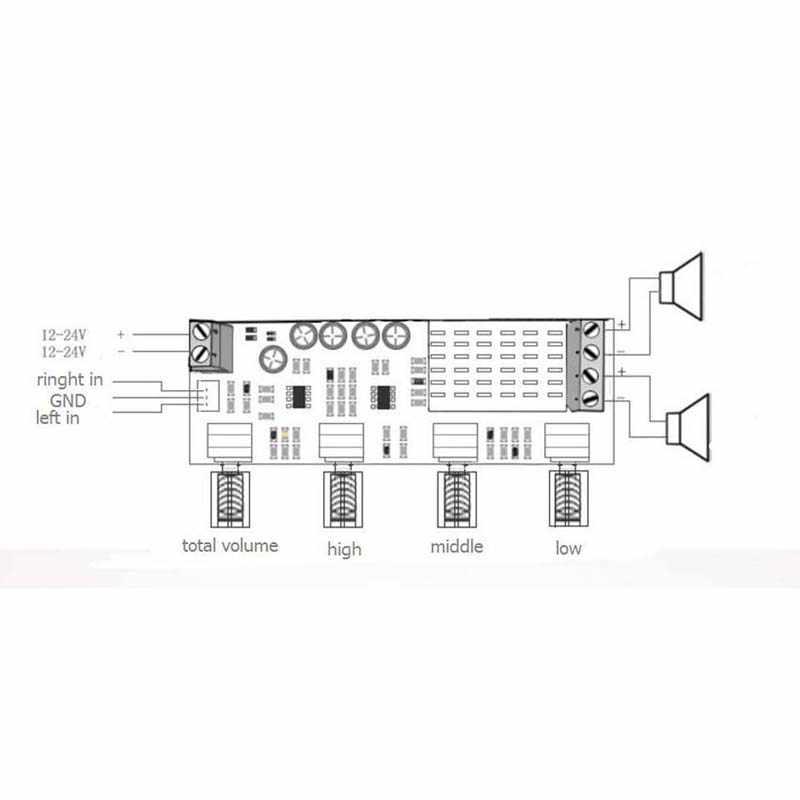 DC 12V 24V 80W x 2 Dual channel Digital Audio TPA3116 D2 Treble Bass  Regulating Preset Pre amplifier Board Amplificador B4-003