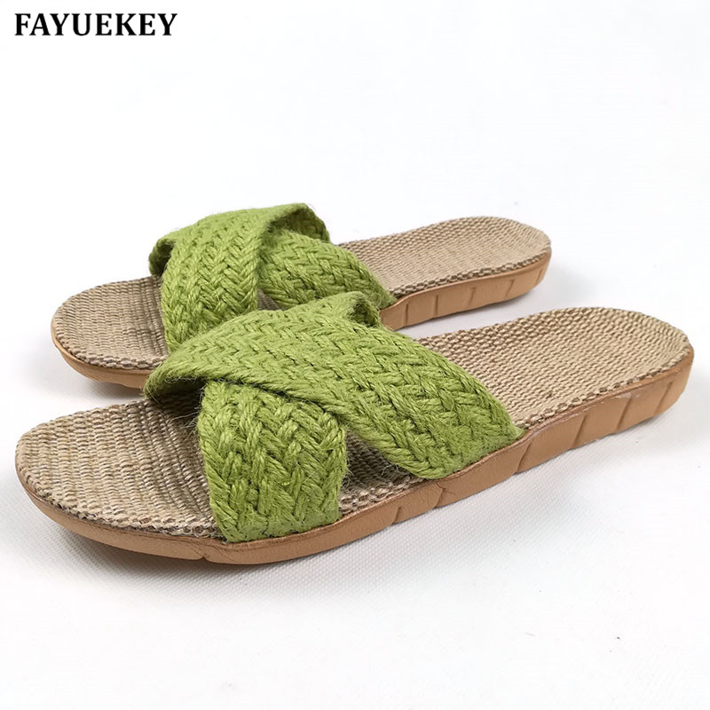 FAYUEKEY Summer Home Linen Non-slip Breathable Slippers Women Cross Belt Indoor  Floor Girls Gift Beach Open-Toed Slippers Shoes