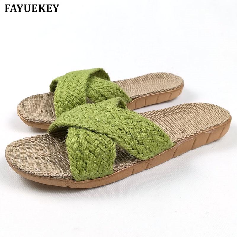 FAYUEKEY zomer thuis linnen antislip ademende slippers vrouwen cross - Damesschoenen