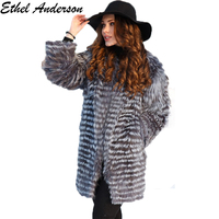 Women's Real Silver Fox Fur Coats Natural Silver Fur Strip Sewd Toghter Fur Jacket Striped Overcoat With Fur Collar Outerwear