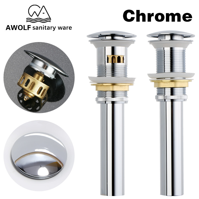 Drain Bathroom Sinks Pop Up Drain With Hair Stopper Filter Trap Overflow Hole Chrome Brass For Basin Vessel Accessories AH6149
