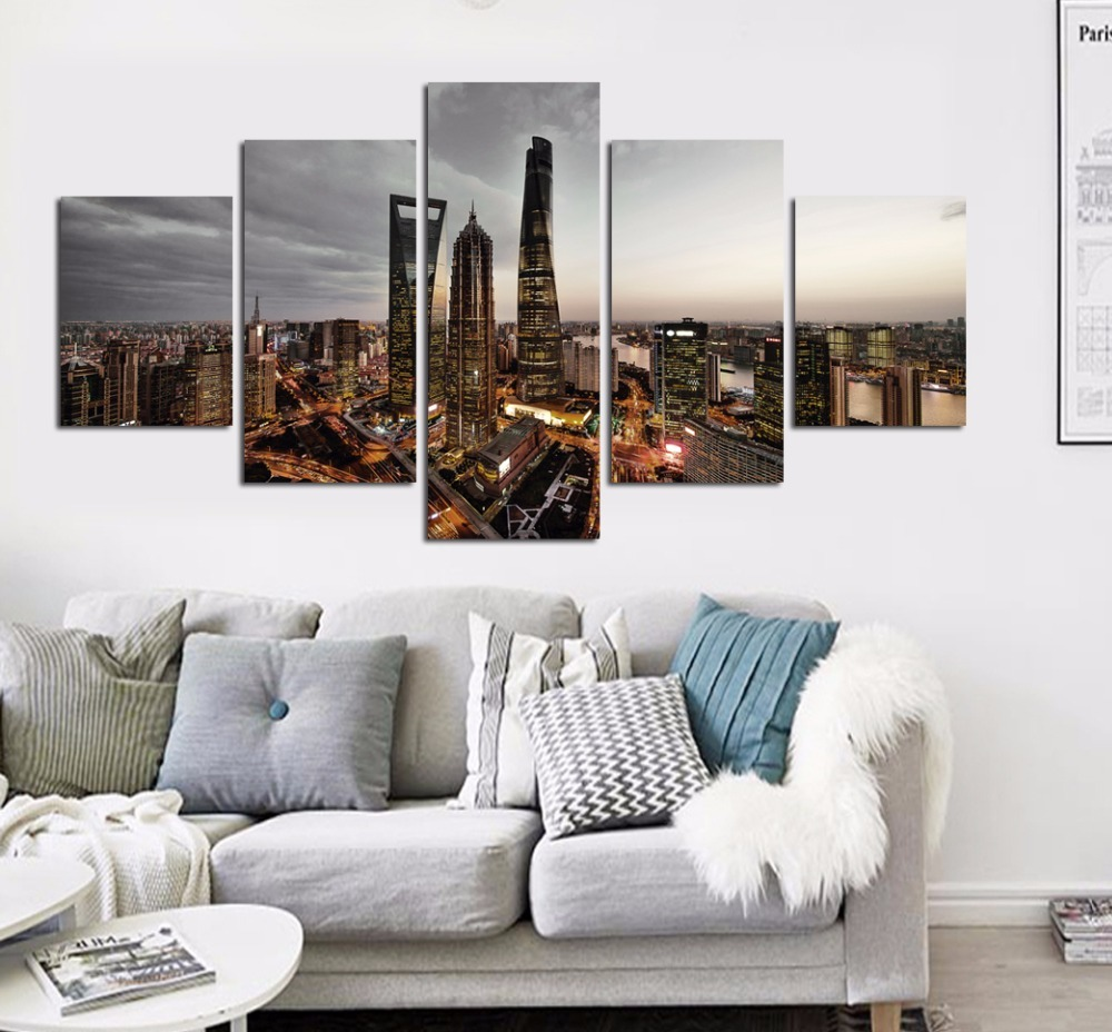 Modern Home Decor Canvas Painting City Wall Art Picture ...