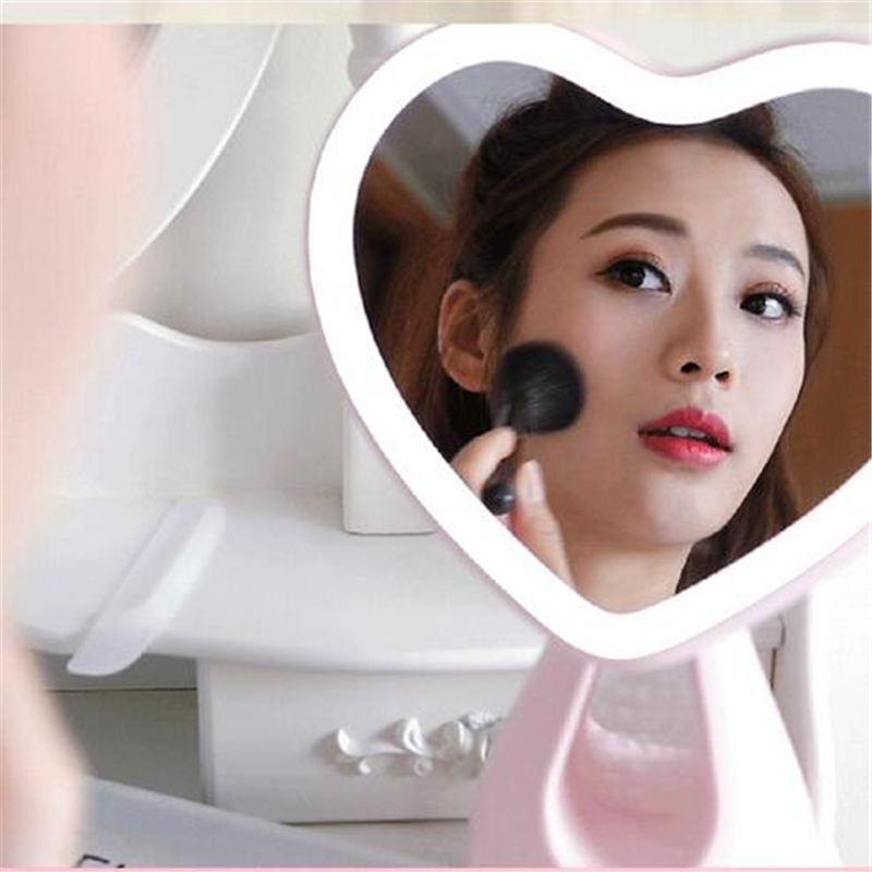 CLAITE Portable LED Makeup Mirror Charging Colorful Heart-shaped Table Lamp Light Mirror Comb Table Night Light Valentine GiftCLAITE Portable LED Makeup Mirror Charging Colorful Heart-shaped Table Lamp Light Mirror Comb Table Night Light Valentine Gift