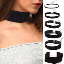Hot 1PC Popular Exaggeration Necklace Velvet 6-50mm Handmade Chic Gothic Black Choker Fashion Jewelry