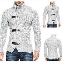 Осень-зима, мужской свитер, кардиган, мужской брендовый Повседневный тонкий вязаный свитер, мужской теплый толстый свитер с высоким воротом, пальто