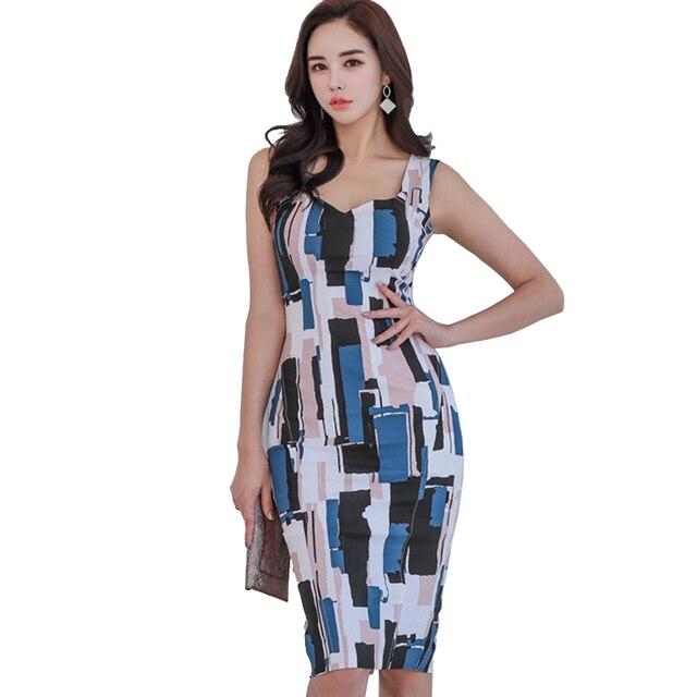 ed57e2b14d12b US $29.99 | Korean new Summer Print Spaghetti strap Vestidos Sexy Dress  Women Office Work Bodycon Sheath Casual Pencil Dresses-in Dresses from  Women's ...