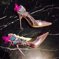 Свадебные Обувь на высоком каблуке 10 см роскошные дизайнеры вечерние свадебные натуральная кожа женские туфли лодочки Элегантный Бабочка
