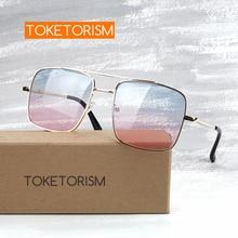 Toketorism fashionable female sunglasses vintage metal frame spring hinges anti radiation gradient lenses  500DG