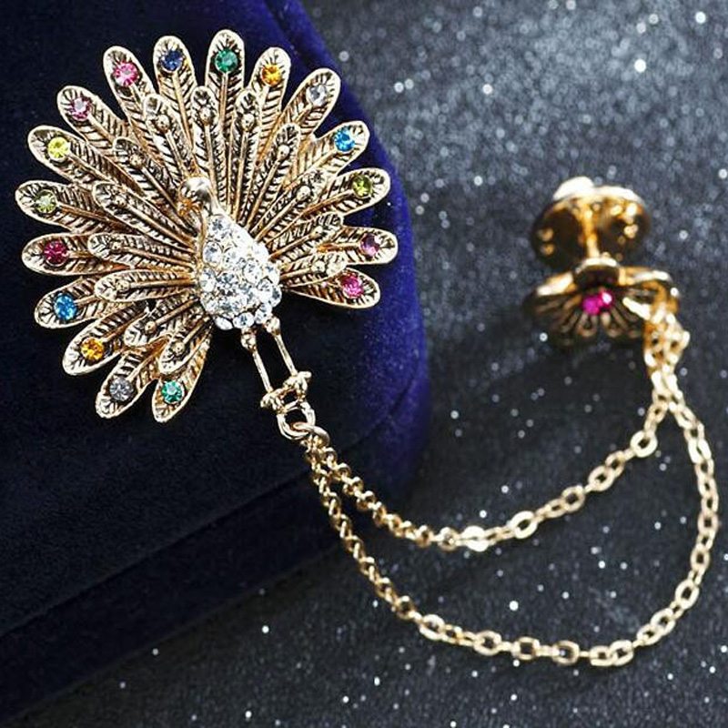 2017 trendy chain tassels rhinestone flower proud peacock Trendy womens gifts 2015