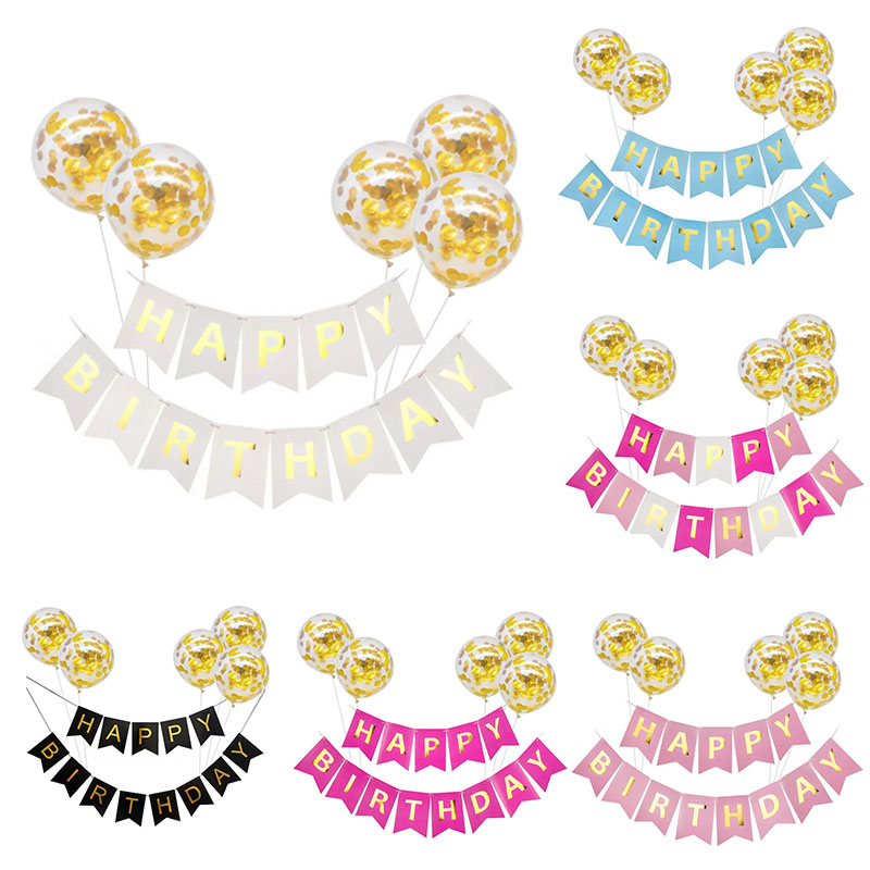 1set Paper Happy Birthday Banner Gold Confetti Balloons