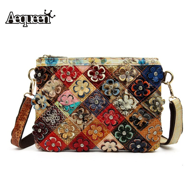 ba6dd0e97554 Detail Feedback Questions about AEQUEEN Crossbody Bags For Women Floral Bag  Clutch Ladies Genuine Leather Handbag Vintage Style Shoulder Bags Totes  Colorful ...