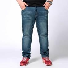 Herren Dunkelblau Plus Größe Klassische Distressed Jeans Gerade Lose Anliegende Vintage Denim Hosen für Männer Größe 44 46 48
