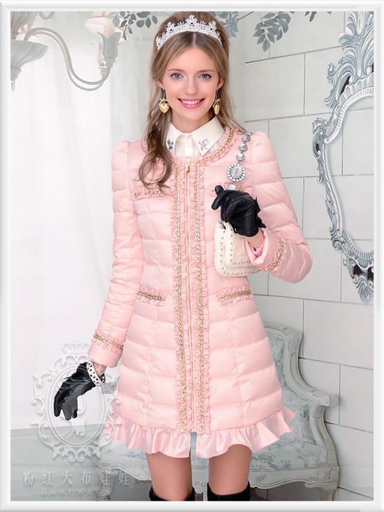 Dabuwawa Winter Long White Duck Down Coat Casual Fashion Women Down Jacket Pink Doll dabuwawa 2015 white duck down wide waisted stand collar slim down jacket