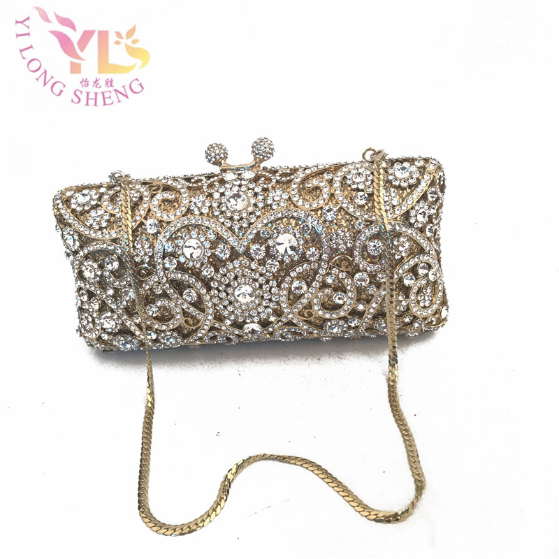 Gold Rhinestones Women Crystal Clutch Evening Box Bags Wedding Party Bridal Chains Shoulder Bag Metal Clutches Handbags YLS-F43 aequeen evening clutch bags women wedding party bags retro shoulder bags ladies day clutches diamond chains handbag