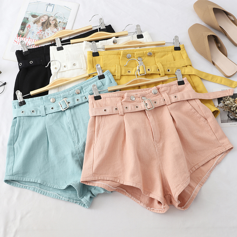 High Waist Casual   Shorts   Women Loose A-line Sashes Wide leg   Shorts   2019 Summer Solid Sexy Female Zipper Buttons Hot   Shorts