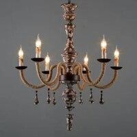 Винтажная деревянная люстра освещение ретро шпагат Люстра для гостиной винтажные люстры Lampadari домашний декор E14 Led Lustre Bois