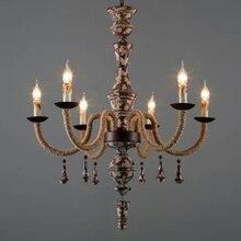 Vintage Wood Chandelier Lighting Retro Twine For Living Room Lustres Lampadari Home Decor E14 Led Lustre Bois