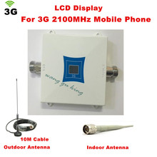 Sizzling ! LCD Household WCDMA UMTS 3G 2100 MHz 2100MHz Cell Cellphone Sign Booster Repeater Cell Cellphone Amplifier with Antenna+10M Cable