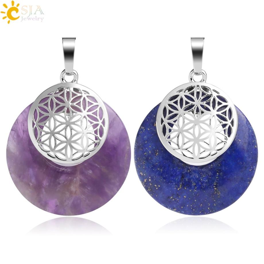 CSJA Flower Of Life Pendant Yoga Chakra Healing Natural Stone Quartz Mandala Pendants For Necklaces Women Men Reiki Jewelry G051