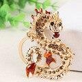 Larga dragón chino de la nueva cristalina pendiente del encanto del monedero del bolso de la llave del coche llavero llavero creativo delicado colección de regalos