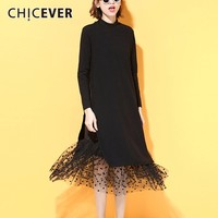 CHICEVER Patchwork Mesh Black Dress Female Long Sleeve Fake Two Piece Loose Big Size Dot Autumn