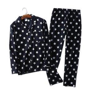 Image 1 - Повседневные пижамные комплекты из 100% хлопка со звездами, мужские уютные пижамы на осень и зиму, мужские пижамы, простые пижамные комплекты