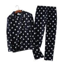 Stars casual 100% cotton pajamas sets men Autumn winter cozy pyjamas mens sleepwear simple pajamas sets