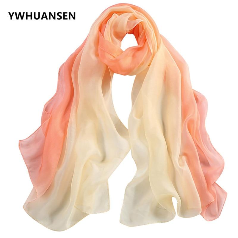 YWHUANSEN Spring Summer Autumn Women Silk Scarf Gradient Real Silk Big Scarf Seaside Sunscreen Shawl Mulberry Silk Pashmina 2018