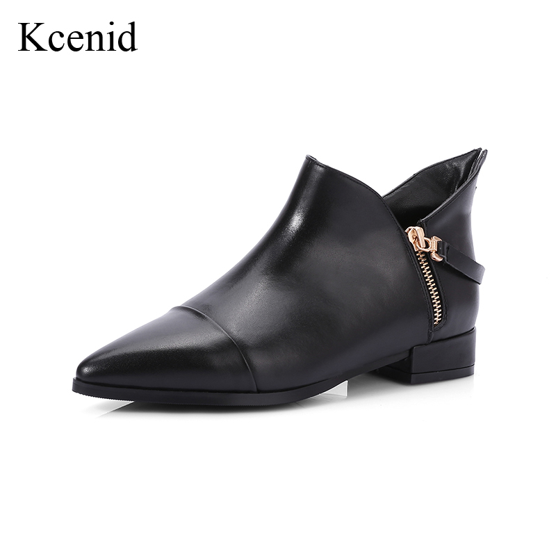 Kcenid Plus size 34-42 autumn winter sexy pointed toe low heel fashion shoes genuine leather boots side zipper women ankle boots
