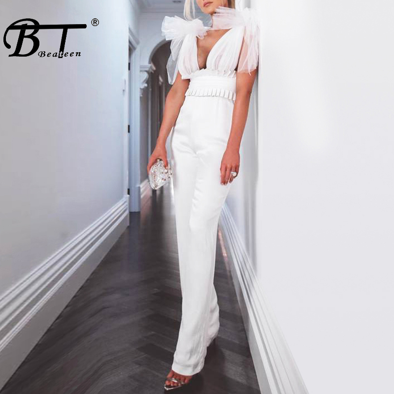 Beateen 2019 New Arrival Mesh Bow Tie Detail Frill Cinching Sexy Deep V Neck Sleeveless Backless Straight Bandage Jumpsuit-in Jumpsuits from Women's Clothing    1