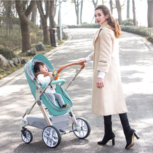 YIBAOLAI Newborn baby stroller High landscape can sit reclining folding shock poussette