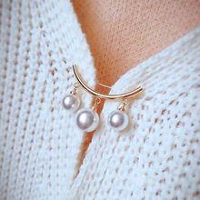 Imitation Pearl Collar Cardigan Shawl Clothes Scarf Anti-light Brooch Safety Pin