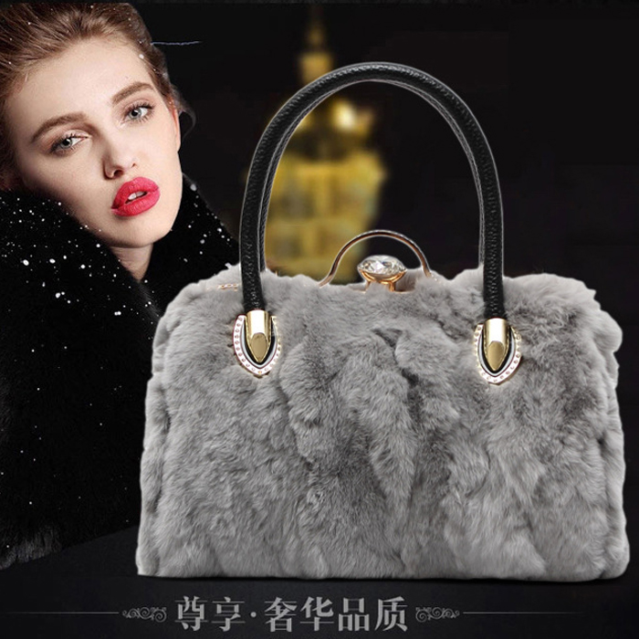 2018 real rabbit fur + cowhide leather women's handbag female diamond rhinestone belt one shoulder cross-body bag shoulder bag grey plain ripped details one shoulder playsuits with belt