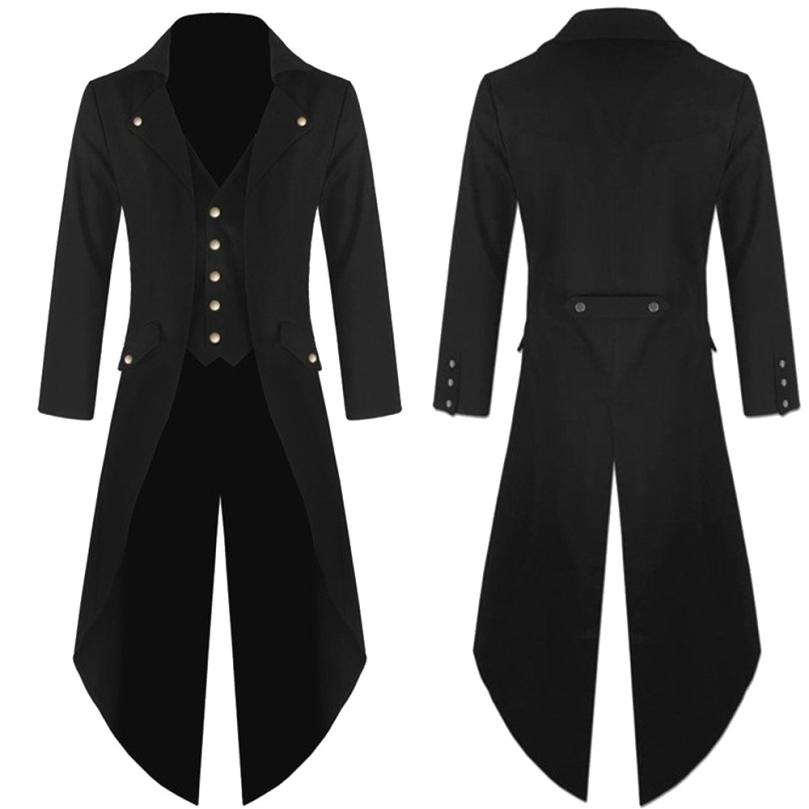 Coat Dress Men's Coat Tailcoat Jacket Gothic Frock Coat Uniform Costume Praty Outwear Fashion Long Coat Men 2018AUG10