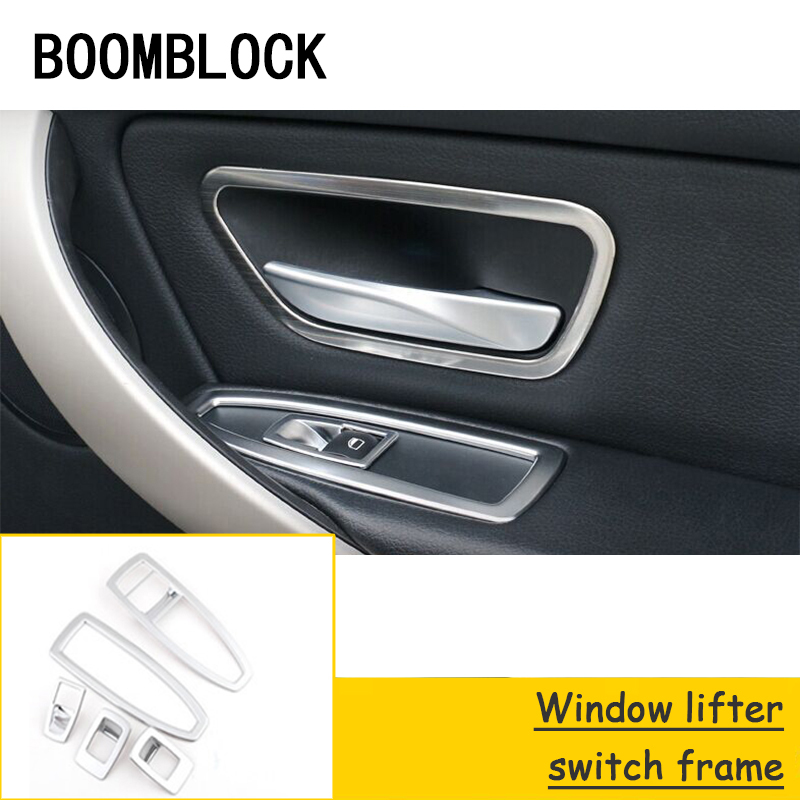 BOOMBLOCK Car Inner Door Bowl Frame Windows Control Panel Stickers Styling For BMW F30 F34 F35 3 Series 320i 316i Accessories|Automotive Interior Stickers|   - title=