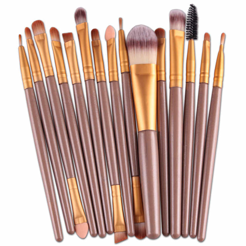 Aliexpress Hot 15 stks/sets Oogschaduw Foundation Wenkbrauw Lip Brush Up Kwasten Tool ar12 Levert Dropship