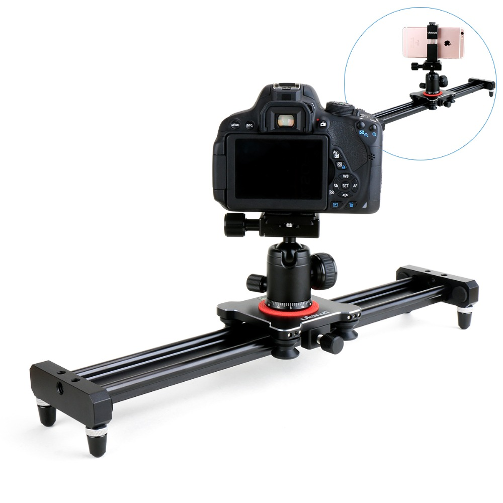 Ulanzi 40cm/50cm DSLR Camera Video Slider Track Dolly Rail Stabilizer System for Canon Pentax Sony Camcorder SLR Movie Film 60cm mini camera video slr stabilizer 3 axis silent damping slide portable compact track slider rail system