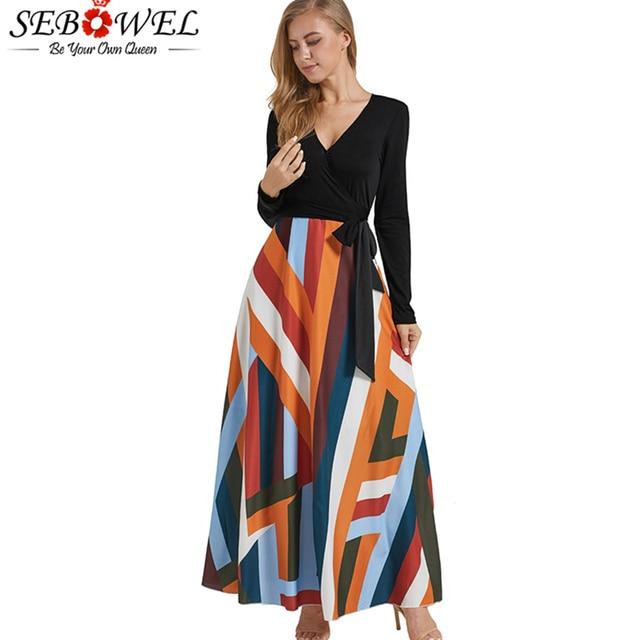 69253268139 SEBOWEL Autumn Black Striped Long Sleeve Maxi Dress Women Sexy V Neck Long  Party Dress 2018 Office Lady Casual Autumn Dress