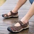 Verano 2016 de Los Hombres Sandalias Zapatillas de Cuero Genuino Sandalias de piel de Vaca Zapatos Al Aire Libre Masculinos Sandalias Casuales de Alta Calidad Más El Tamaño 38-48