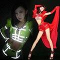 Luminosa Fantasy Queen Colores Fluorescentes Sexy Hollow Hombro Pluma Buzos Party Girl Dancer DS Club Nocturno Trajes de la Etapa
