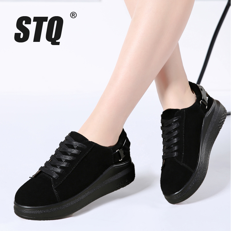 STQ Women Oxford Shoes Moccasins Flats Lace-Up Round-Toe Casual 5688 Boat Suede