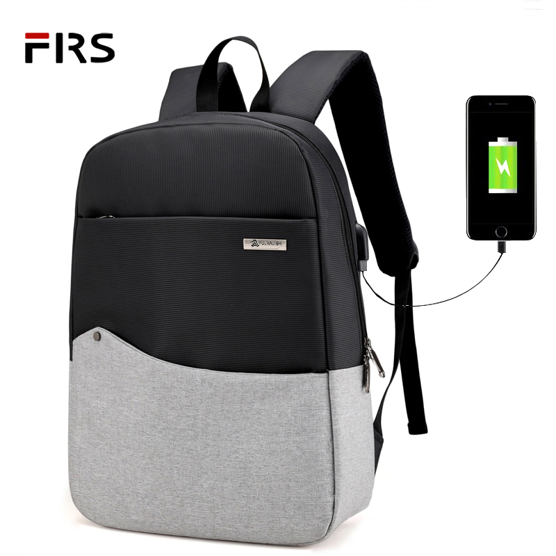 FLRS Men Laptop Backpack For 15.6 inch USB Charging Backpacks Computer Anti-theft Bags Male Lady Gray Daypack Women Travel Bag 17 inch laptop backpack men usb charging nylon camouflage travel backpack computer bag headphone hole rucksack daypack notebook
