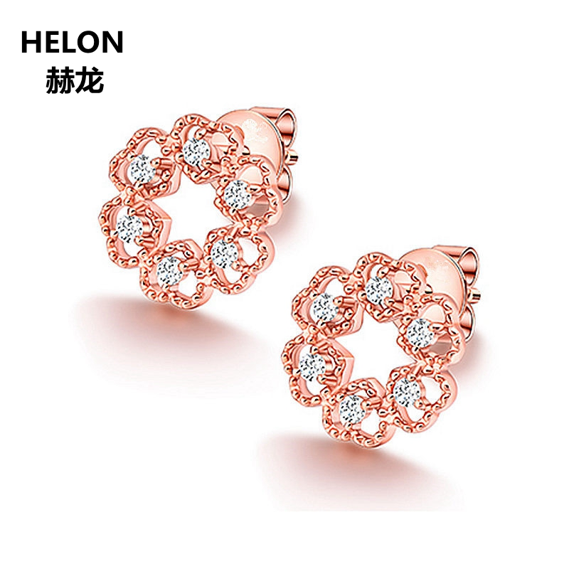 0.1ct Natural Diamonds Stud Earrings for Women Solid 14k Rose Gold Heart Fine Jewelry Millgrain0.1ct Natural Diamonds Stud Earrings for Women Solid 14k Rose Gold Heart Fine Jewelry Millgrain